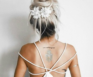 hair, flowers, and tattoo image