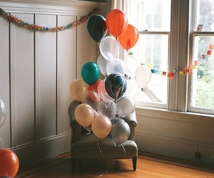 alone, balloons, and happy image