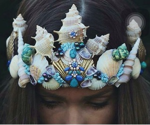 mermaid, crown, and blue image
