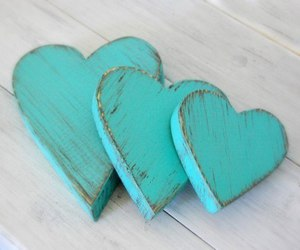 hearts, heart, and turquoise image