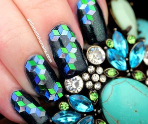 blue, glitter, and green image