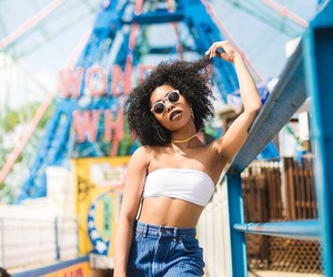black girl, coney island, and curly hair image