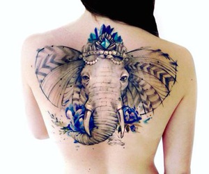 tattoo, elephant, and blue image