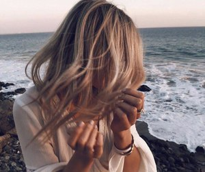 blond, hair, and sea image