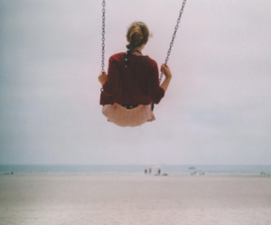 girl, swing, and beach image