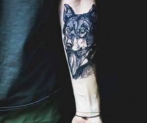 tattoo, wolf, and boy image