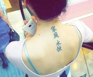 back tattoo, girl, and pink image