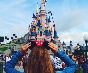 girl, disneyland, and mickey mouse image
