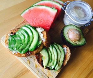 avocado, watermelon, and breakfast image