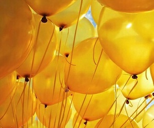 aesthetic, baloons, and yellow image