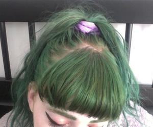 eye liner, green hair, and makeup image