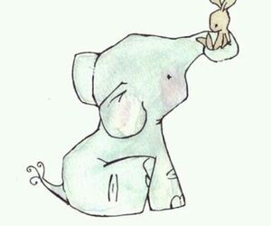 cute, elephant, and drawing image