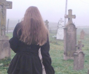 black, cemetery, and girl image