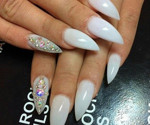 nails, white, and stiletto image