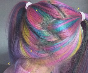 rainbow, hair, and pink image