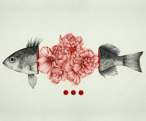 blood, drawing, and fish image
