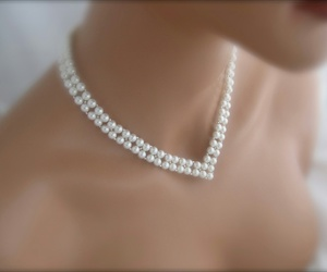 bridal, necklace, and pearls image