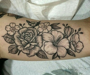 flower, Tattoos, and rose image