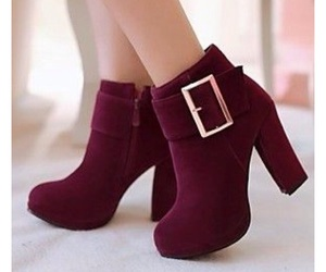 ankleboots, burgundy, and heels image