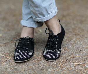 black, studs, and shoes image
