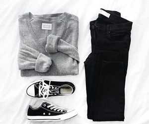 black, converse, and grey image