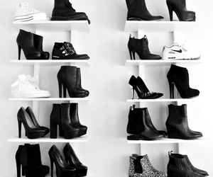 and, black and white, and heels image