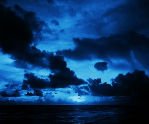 clouds, sunset, and blue image