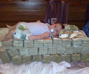 baby girl, currency, and rich image