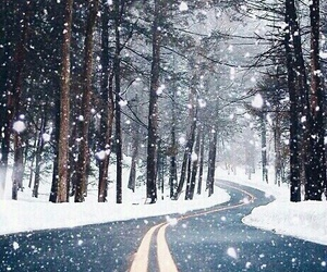 road, snowing, and snow image