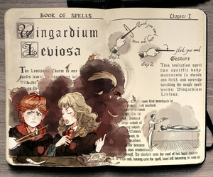 harry potter, art, and wingardium leviosa image