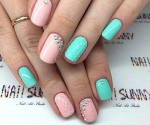 nails, mint color, and pink image