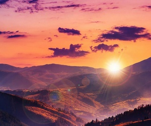 sun, sunset, and mountains image