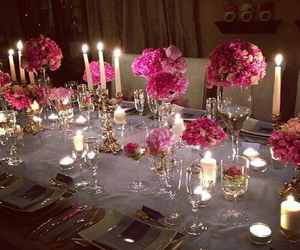 flowers, candle, and dinner image