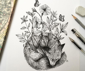 art, flowers, and fox image