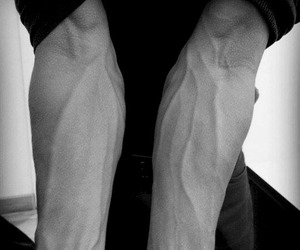 boy, veins, and black image