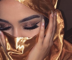girl, glitter, and gold image