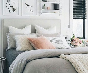bedroom, grey, and home decor image