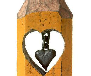 pencil, art, and heart image