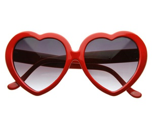 red, sunglasses, and heart image