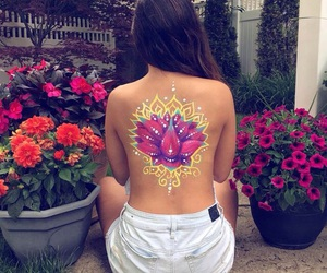 art, body art, and flowers image