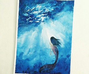 mermaid, blue, and draw image