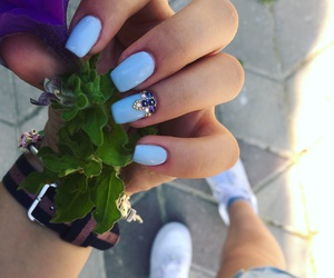 blue, lovely, and manicure image