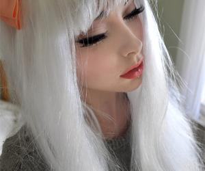 girl, hair, and white hair image