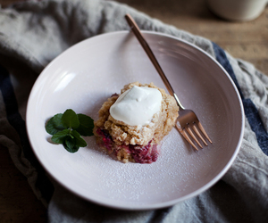 berry, food, and crumb cake image