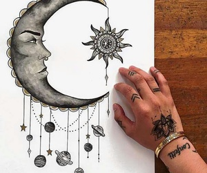 drawing, planets, and moon image