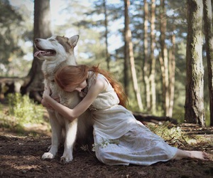 girl, forest, and wolf image
