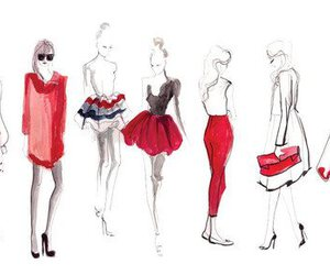 fashion, red, and drawing image