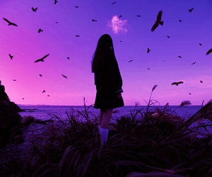 girl, purple, and bird image