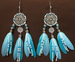 feather, earrings, and handmade image