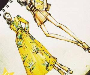 dres, croqui de moda, and vestidos image